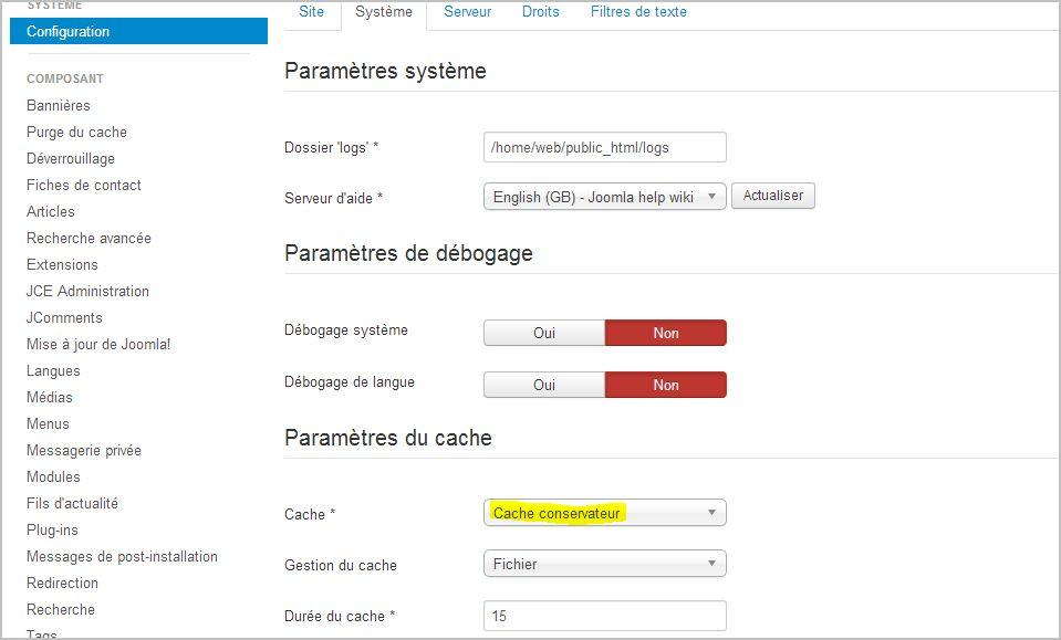 Configurer cache joomla 3 - vitesse site joomla