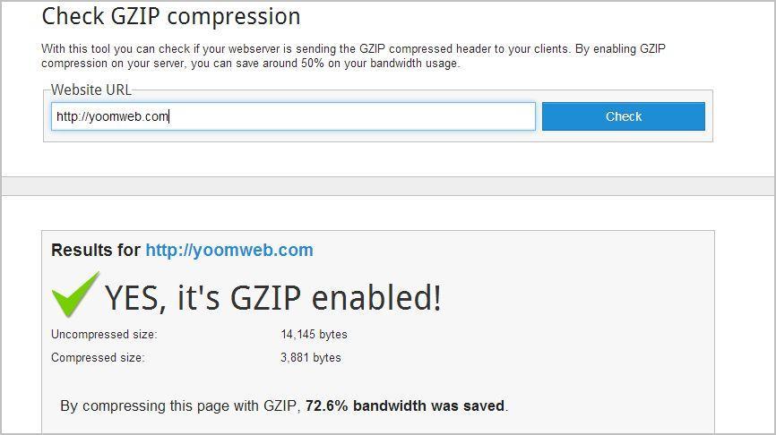 Test Compression Joomla 3 en utilisant GZIP