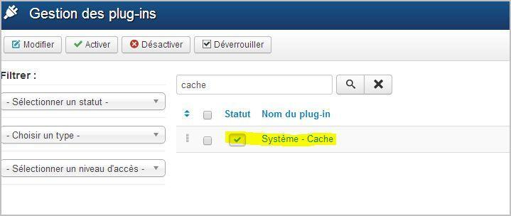 activer plugin cache joomla - mise en cache - compression
