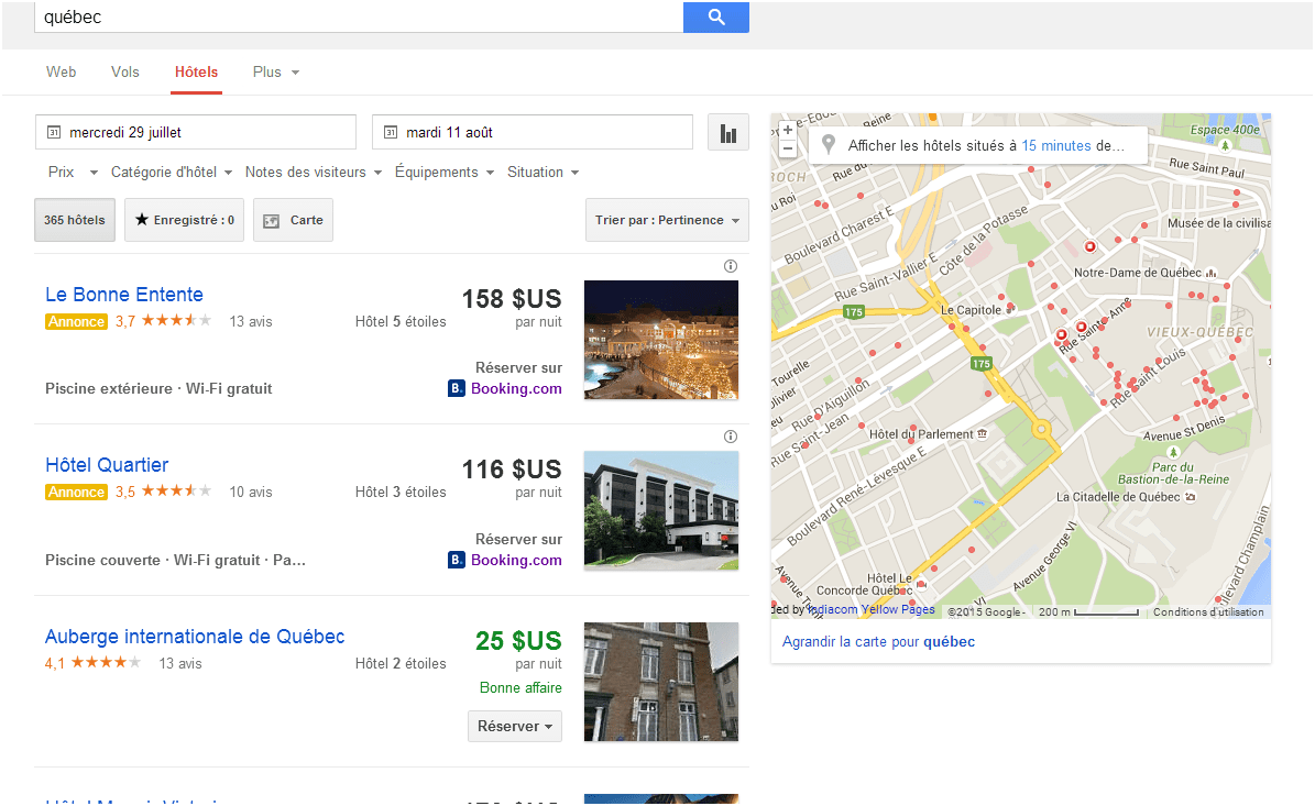 Google Hôtel Finder: nouvelle interface