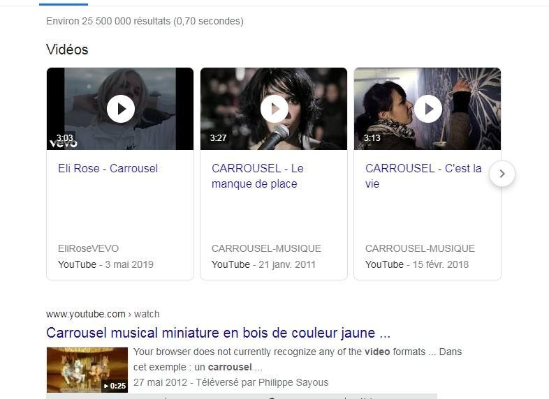 exemple carrousels videos serp google